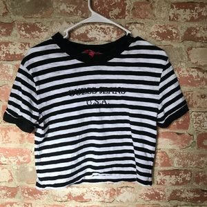 Striped Guess Tee in black and white stripe